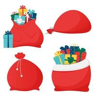 Santa Claus bags with gift boxes vector