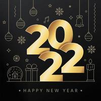 Vector illustration of New year concept with big golden 2022 letters and line Christmas icons