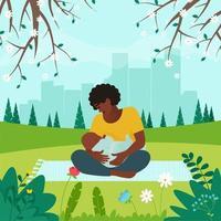 Madre alimentando a un bebé con pecho en el parque en el paisaje primaveral de la ciudad vector