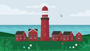 Lighthouse on seashore vector