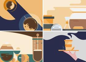 Collection of coffee banners vector