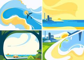 Collection of travel banners vector
