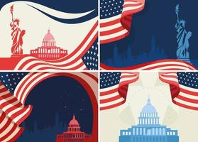 Set of US public holiday banners vector