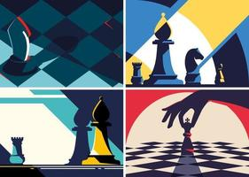 Collection of chess banners vector