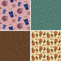 Set of seamless patterns with coffe elements vector