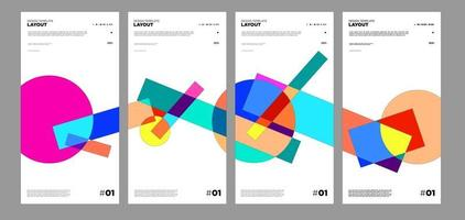 Colorful abstract geometric bauhaus and ethnic poster design template vector