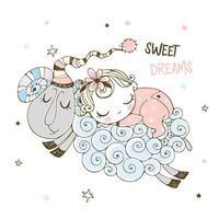 Baby girl sweetly sleeping on a sheep. vector
