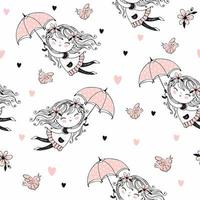 Seamless pattern with cute girls flying on umbrellas. Vector