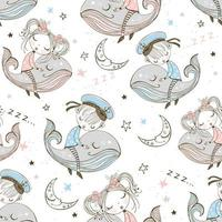 Seamless pattern with cute kids sleeping on whales vector