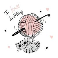 Cute kitten playing with a ball of yarn. I love knitting. Vector. vector