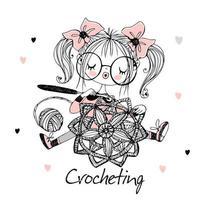 A cute needlewoman girl is crocheting an openwork napkin. Vector. vector