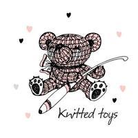 Knitted toys, a bear with a crochet hook. Vector. vector
