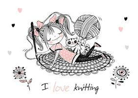 Cute girl needlewoman crochets a rug. Vector. vector