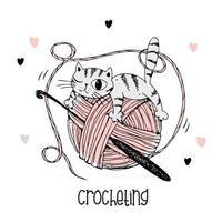 A cat on a ball of yarn. Crochet logo. Vector. vector