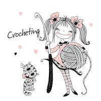 Cute needlewoman girl with a crochet hook in her hands. Vector. vector