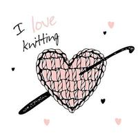 A knitted heart with a crochet hook. I love knitting. Vector. vector