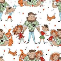 Seamless pattern with dad and kids. Father's Day. Vector. vector