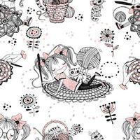 Cute girls needlewomen crochet knitters. Seamless pattern.Vektoryu vector