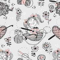 Cute girls needlewomen crochet knitters. Seamless pattern. VektorB vector