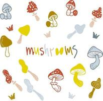 Drawing cute multicolored mushrooms and an inscription vector