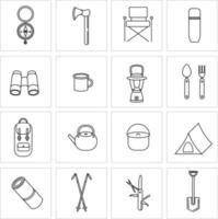 Set of icons for camping, travel and tourism. Collection of icons for Hiking and outdoor activities. Tent, portable flashlight, Nordic walking sticks, thermos, binoculars. Vector illustration