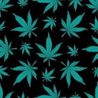 Cannabis seamless pattern. Green hemp leaves on a black background. Marijuana pattern vector illustration