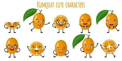 Kumquat citrus fruit cute funny cheerful characters with different poses and emotions. vector