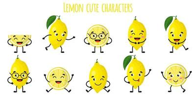 Lemon citrus fruit cute funny cheerful characters with different poses and emotions. vector
