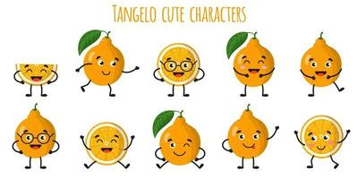 Tangelo citrus fruit cute funny cheerful characters with different poses and emotions. vector