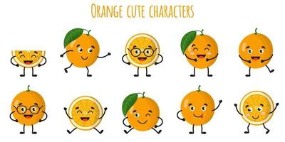 Orange citrus fruit cute funny cheerful characters with different poses and emotions. vector