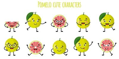 Pomelo citrus fruit cute funny cheerful characters with different poses and emotions. vector