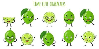 Lime citrus fruit cute funny cheerful characters with different poses and emotions. vector