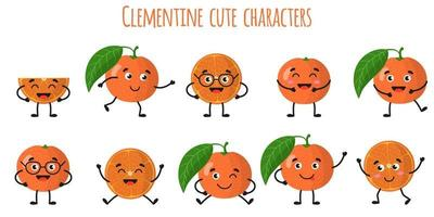 Clementine citrus fruit cute funny cheerful characters with different poses and emotions. vector