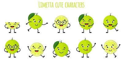 Limetta citrus fruit cute funny cheerful characters with different poses and emotions. vector