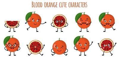 Blood orange citrus fruit cute funny cheerful characters with different poses and emotions. vector