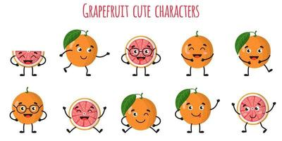 Grapefruit citrus fruit cute funny cheerful characters with different poses and emotions. vector