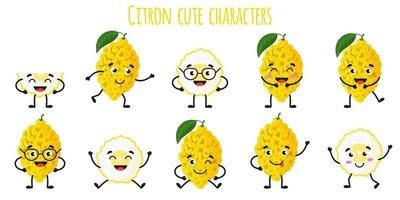 Citron citrus fruit cute funny cheerful characters with different poses and emotions. vector