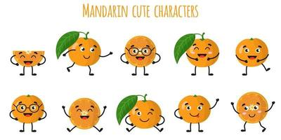 Mandarin citrus fruit cute funny cheerful characters with different poses and emotions. vector