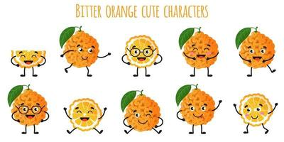 Bitter orange citrus fruit cute funny cheerful characters with different poses and emotions. vector