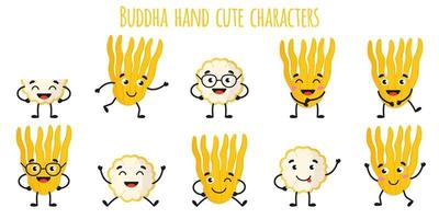 Buddha hand citrus fruit cute funny cheerful characters with different poses and emotions. vector