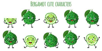 Bergamot citrus fruit cute funny cheerful characters with different poses and emotions. vector
