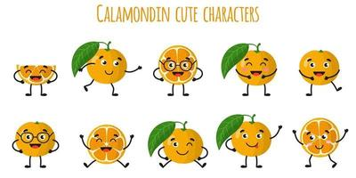 Calamondin citrus fruit cute funny cheerful characters with different poses and emotions. vector
