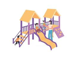 Children and babysitter in medical mask on playground flat color vector faceless characters