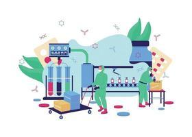 Vaccine production flat concept vector illustration