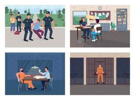 Police investigation flat color vector illustration set