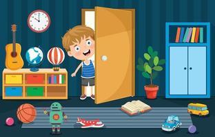 Liitle Boy Opening The Door vector