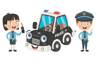 Cartoon Characters Of Male And Female Police Officers vector