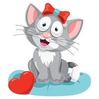 Cute Funny Little Cat Posing vector