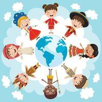 Circle Of Happy Children Different Races vector