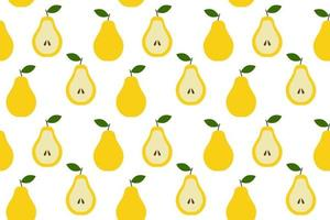 Tropical background with pears Fruit repeated background vector